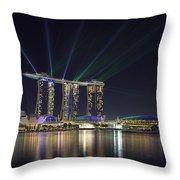 Light Show At Marina Bay Sands Hotel And Casino II Throw Pillow