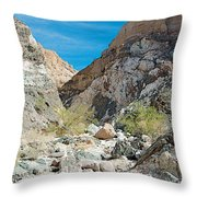 Light Side And Dark Side In Big Painted Canyon In Mecca Hills-ca Throw Pillow