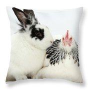 Light Sussex Bantam Hen And Rabbit Throw Pillow