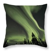 Light Swirls Over The Midnight Dome Throw Pillow by Priska Wettstein