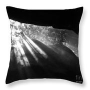 Light Through Mist In Cave Throw Pillow