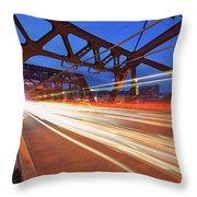 Light Trails On Broadway Bridge Throw Pillow