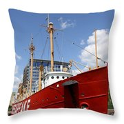 Light Vessel Baltimore Harbor Throw Pillow