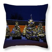 Lighted Trees With Snow Throw Pillow