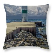 Lighthead At The End Of The Pier In Pentwater Michigan Throw Pillow