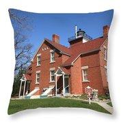 Lighthouse - 40 Mile Point Michigan Throw Pillow