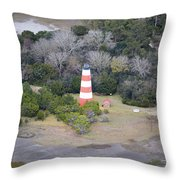 Lighthouse Aerial Near Jekyll Island Throw Pillow