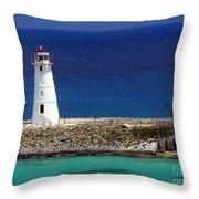Lighthouse Along Coast Of Paradise Island Bahamas Throw Pillow