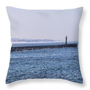 Lighthouse And A Sailing Boat Throw Pillow