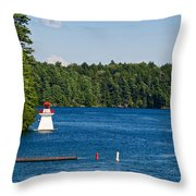 Lighthouse And Boathouse Throw Pillow