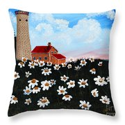 Lighthouse And Daisies Throw Pillow