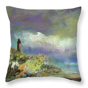 Lighthouse And Fisherman Throw Pillow
