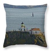 Lighthouse And Sailboat Throw Pillow