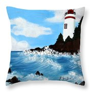 Lighthouse And Sunkers Throw Pillow