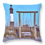 Lighthouse And Swing Throw Pillow
