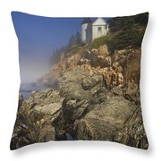 Lighthouse At Bass Harbor Maine Throw Pillow