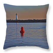 Lighthouse At Harbor Throw Pillow
