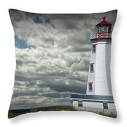Lighthouse At North Cape On Prince Edward Island Throw Pillow