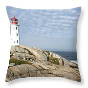 Lighthouse At Peggys Point Nova Scotia Throw Pillow