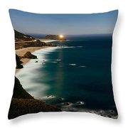 Lighthouse At The Coast, Moonlight Throw Pillow