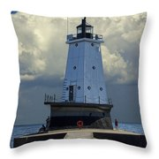 Lighthouse At The End Of The Pier In Ludington Michigan Throw Pillow