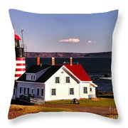 Lighthouse At West Quoddy Head Throw Pillow