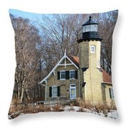 Lighthouse At White River Throw Pillow