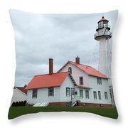 Lighthouse At Whitefish Throw Pillow