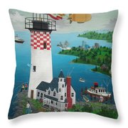 Lighthouse Fishing Throw Pillow