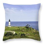 Lighthouse From Salal Hill Throw Pillow