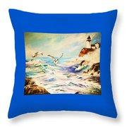 Lighthouse Gulls And Waves Throw Pillow
