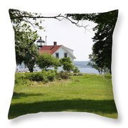 Lighthouse Hidden Behind Trees Throw Pillow