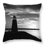 Lighthouse In Black And White Throw Pillow