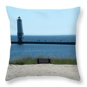 Lighthouse In Blue Throw Pillow