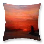 South Haven Mi Lighthouse In Four Seasons Summer Throw Pillow