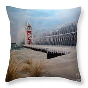 South Haven Mi Lighthouse In Four Seasons-winter Throw Pillow