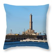 Lighthouse In Genova. Italy Throw Pillow