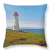 Lighthouse In Louisbourgh-ns Throw Pillow