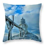 Lighthouse In Saint Joseph Michigan Throw Pillow