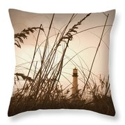 Lighthouse In The Distance Inn Sepia Throw Pillow by Laurie Perry