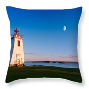 Lighthouse In The Light From Moon And Sun Throw Pillow