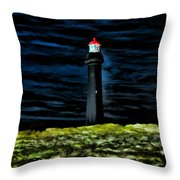 Lighthouse In The Night Throw Pillow