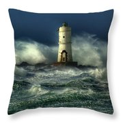 Lighthouse In The Storm Throw Pillow