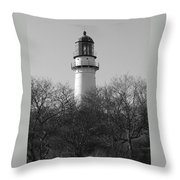 Lighthouse In Trees Throw Pillow