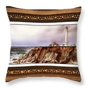 Lighthouse In Vintage Frame Throw Pillow
