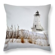 Lighthouse In Winter Throw Pillow