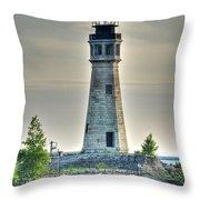 Lighthouse Just Before Sunset At Erie Basin Marina Throw Pillow
