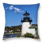 Lighthouse Mystic Seaport Throw Pillow