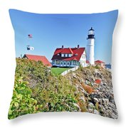 Lighthouse Of Maine Throw Pillow