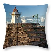 Lighthouse On A Channel By Cascumpec Bay On Prince Edward Island No. 094 Throw Pillow